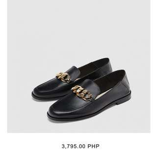 Zara Leather Loafers with Chain