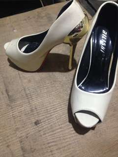 Pageant Cream & Gold High Heels 5-7inches