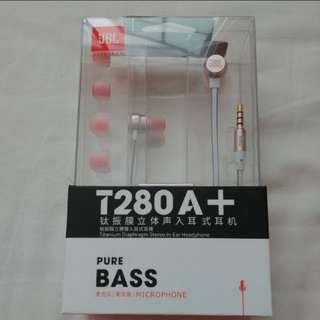 Jbl T280 A+ titanium diaphragm stereo in-ear headphone