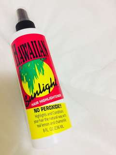 Hawaiian Sunlight hair highlightener. Designed to add summer to your hair all year long, protect your scalp & instantly moisturize & condition your hair 😊