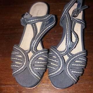 Original Charles and keith denim wedge sandals