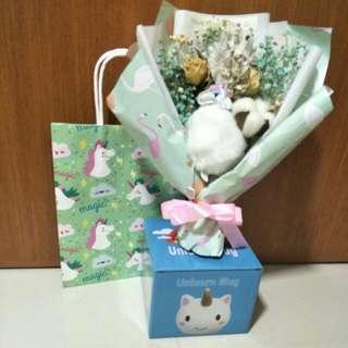 Unicorn flower bouquet + unicorn mug + unicorn paper carrier