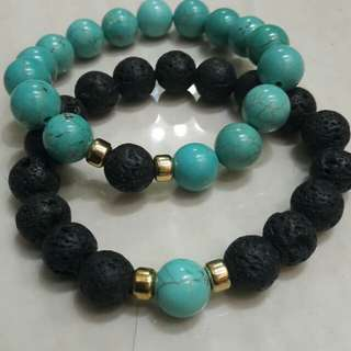 Distance bracelet with lava beads