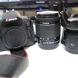 Canon 700D+18-55mm kit+50mm人像鏡附uv保護鏡