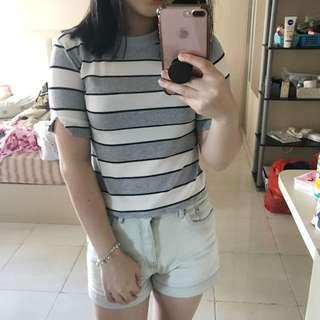 Tshirt shirt stripes blue black