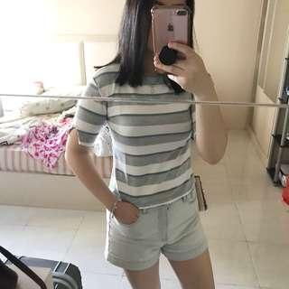 Tshirt shirt stripes blue grey