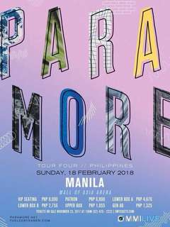 2 PCS PARAMORE TOUR FOUR GENERAL ADMISSIONS