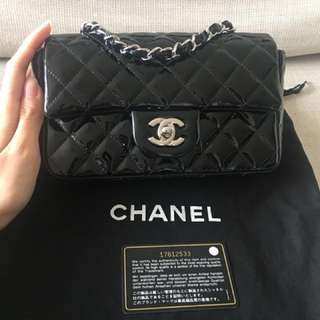 *ONE WEEK SALE: $2780* Authentic Chanel Rectangular Mini Flap Bag Black Patent