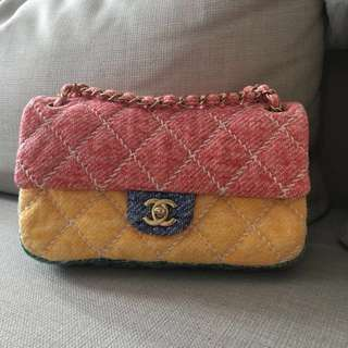 Authentic Chanel M/L Flap Bag Limited Edition Multicolor Jersey!