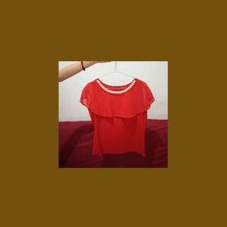 Blouse merah mutiara