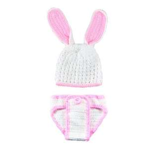 Pink & White Baby Bunny Crochet Set