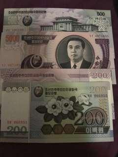 4 north Korean notes for sale unc