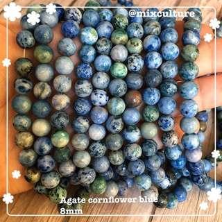 Agate cornflowerblue 8mm