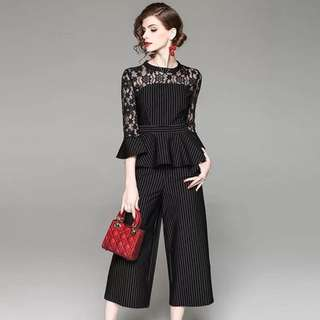 2pcs set black lace top striped flare ruffled blouse with matching straight wide trousers