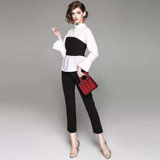 3pcs suit set long flare sleeve cotton shirt white blouse with black pencil trousers and black strapless tube crop tops