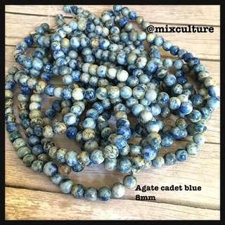 Agate 8mm cadet blue