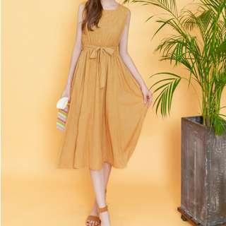 🚚 【衣服】🎀EYESCREAM 細條紋後拉鍊附腰帶長連身裙