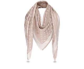 LV monogram pink silk scarf