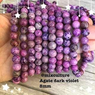 Agate dark violet 8mm