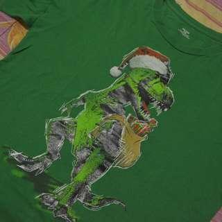 Dinosaur Santa Green Shirt