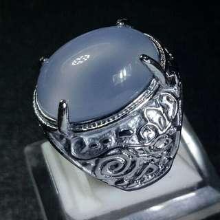 Cincin Batu Akik Blue Ink Chalcedony Biru Tinta
