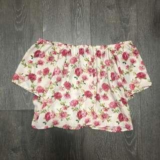 Off-Shoulder Floral Crop Top