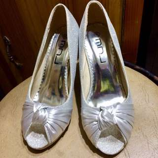 Glittered Silver Shoes