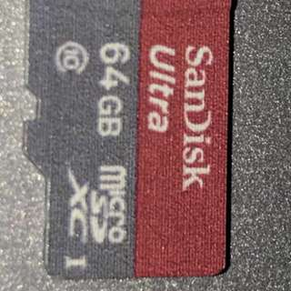 ScanDisk 64GB Ultra-MicroSD card class 10 ( 1 month old )