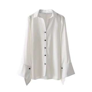 🔥Europe New Loose White Long Sleeve Shirt Blouse