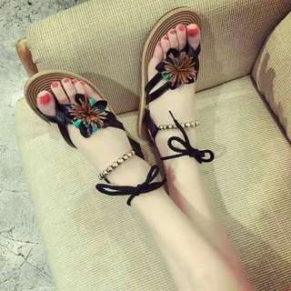 Sandal Flat Etnik Bunga JS