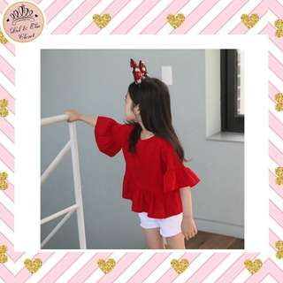 < Instock > Red Ruffle Blouse