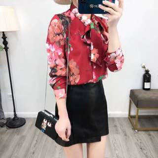 🔥Europe New Loose Long Sleeve Butterfly Knot Gorgeous Flower Printing Shirt Blouse