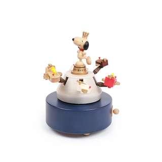 🚚 花生漫畫 Snoopy / 史努比&糊塗塌客飛機木質旋轉音樂盒 / D202