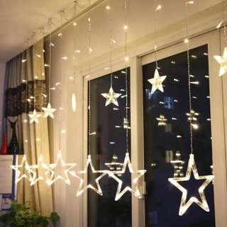 BN Curtain Backdrop Hanging String LED Star Fairy Lights