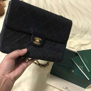 Vintage Chanel 20 cm bag. 24k gold plated. Very clean inside and outside 85% new