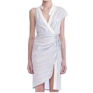 PO - Striped Backless Deep V-neck Asymmetric Dress