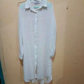 Zalia long line white shirt (zalora)