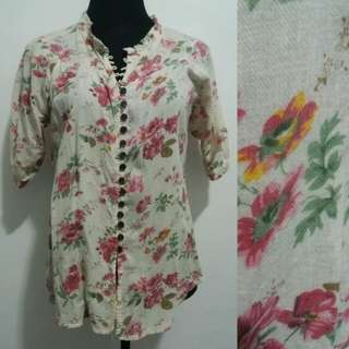 Floral Polo 3/4 Sleeves