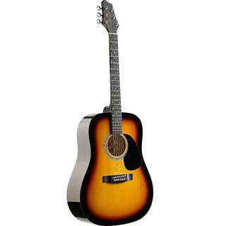 STAGG 4/4 ACOUSTIC DREADNOUGHT GUITAR WITH SUNBURST BASSWOOD TOP