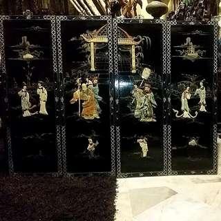 Chinese Vintage 4 Panels With Shou San Stone   Fuk Luk Sau