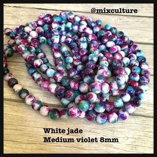 Whitejade violet 8mm