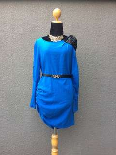 Blue assymetrical dress party dress