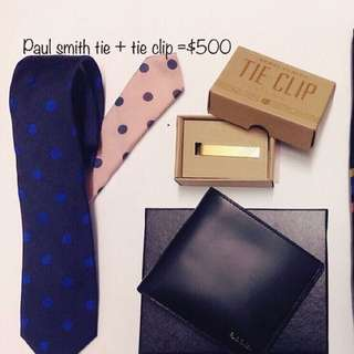 Paul smith tie + tie clip set