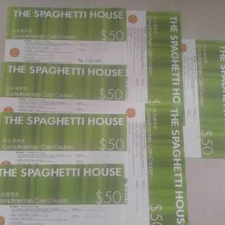 The Spaghetti House意粉屋現金劵7張