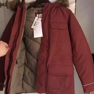 購自法國!牌Aigle 超厚身暗紅深紅厚綿質毛毛帽外套