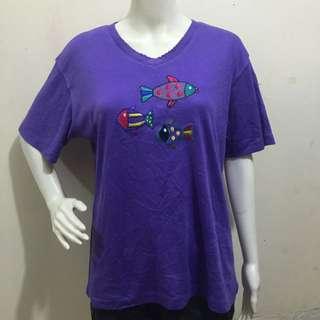Violet fish design plus size women tshirt large