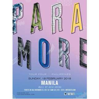PARAMORE TOUR FOUR IN MANILA - LOWER BOX A