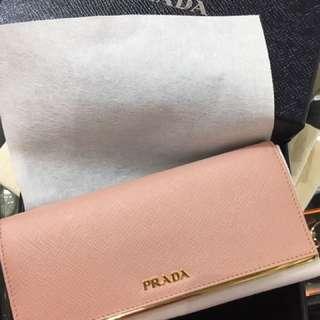 Prada 女裝女銀包 long wallet 十字紋