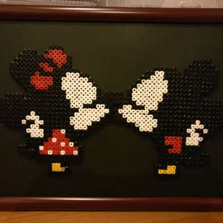 "Mickey and Minnie framed ""Kiss"" perler beads"