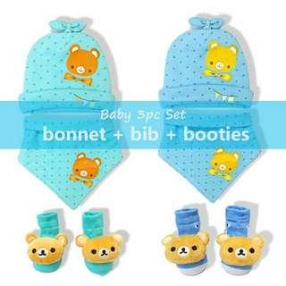 3in1 Baby Bonnet Bib & Booties